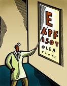 视光师指着一个眼睛结构图 — 图库照片