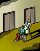 Doctor pushing a patient in a wheelchair — Zdjęcie stockowe