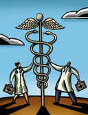 Two doctors touching a giant caduceus — Stock Photo