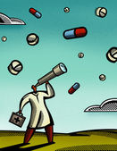 Doctor looking through a telescope at pills falling from the sky — Stock Photo