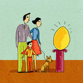Family looking at giant golden egg on a pedestal — Stock Photo