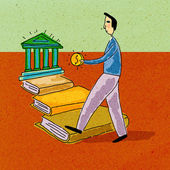 A man holding money walking along a path of books towards a bank — Stock Photo