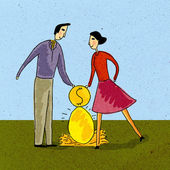 A couple putting money into their nest egg — Stock Photo
