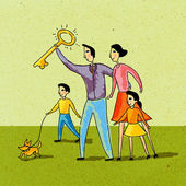 Family holding a golden key and walking their dog — Foto de Stock