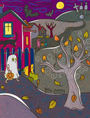 A child dressed as a ghost trick or treating on Halloween — Zdjęcie stockowe