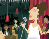 A woman singing in a night club with an audience — Stock Photo