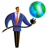 Illustration of a person putting a plug into the earth — Stock Photo