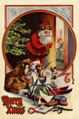 Vintage Christmas card of Santa Claus with gifts checking to see — Stock Photo