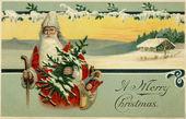 Vintage kerstkaart van santa claus in een besneeuwde winters tafereel — Stockfoto