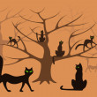 Cat forest — Stock Vector