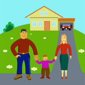 Happy family stays in front of their house — Stock Vector