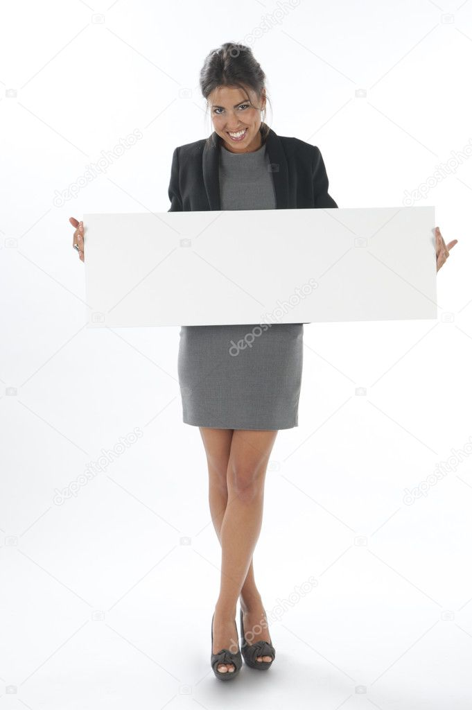 Happy young business woman, holding sign on white background. — Stock Photo #11894750