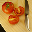 Stock Photo: Fresh tomatoes and knife