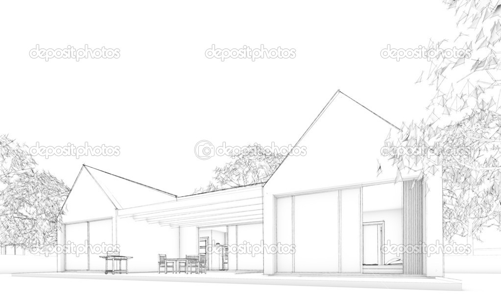 Sketch of modern atrium house with terrace, garden and trees in background. — Stock Photo #11706562