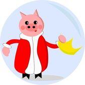 Piggy queen abdicate — Stock Vector