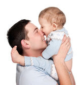 Happy father with a baby isolated on a white — Stock Photo