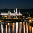 Stock Photo: Night view of the Moskva River, Bridge and the Kremlin: Russia, Moscow