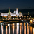 Night view of the Moskva River, Bridge and the Kremlin: Russia, Moscow — Stock Photo
