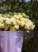 Beautiful bouquet of roses in bucket — Stock Photo