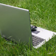 Notebook on green grass — Stock Photo