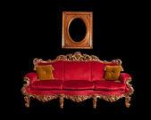 Divano barocco rosso — Foto Stock