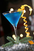 Xmas blue cocktail — Stock Photo
