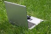 Notebook on green grass — Stock Photo