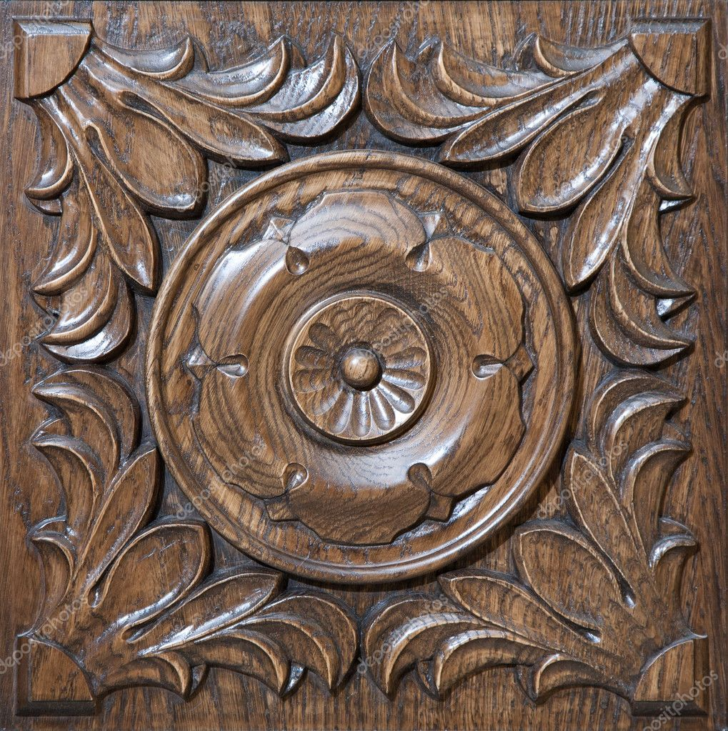 Carved pattern on wood element of decor — stock photo