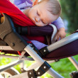 Photo: Photo of baby sleeping peacefully outdoors