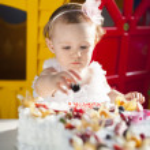 Little girl celebrating first birthday — Stock Photo