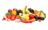 Fresh vegetables and fruits isolated on white — Stock Photo
