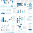 INFOGRAPHIC DEMOGRAPHICS WEB ELEMENTS BLUE — Stock Vector
