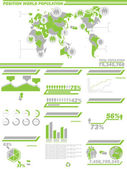 INFOGRAPHIC DEMOGRAPHICS POPULATION 2 GREEN — Stock Vector