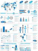 INFOGRAPHIC DEMOGRAPHICS WEB ELEMENTS BLUE — Stock Vector