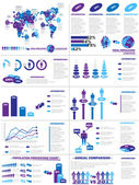 INFOGRAPHIC DEMOGRAPHICS WEB ELEMENTS PURPLE — Stock Vector