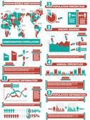 Percentuale di infografica demografia mondiale — Vettoriale Stock