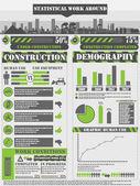 INFOGRAPHIC WORK GREEN — Stock Vector