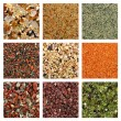 Collage of colorful sand samples - Stock Photo
