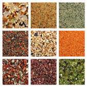 Collage of colorful sand samples — Foto Stock