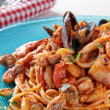 Stock Photo: Spaghetti with seafoods