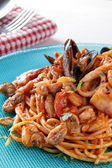 Spaghetti with seafoods — Stock Photo