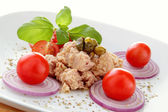 Plate composition whit tuna salad tomato end onion — Stock Photo