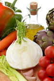 Italian food with vegetables end olive oil — Stock Photo