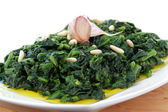 Spinach whit onion end garlic — Stock Photo