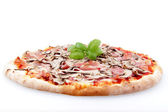Pizza with ham end mushrooms on a white background — Stock Photo