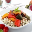 Stock Photo: Wild Rice with vegetables in tomato sausages