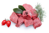 Stew beef on white background — Stock Photo