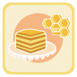 Piece of honey cake and bee on honeycomb — Stock Vector