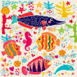Stock Vector: Vector wallpaper with fish and marine life