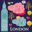 Vector set of London symbols — Stock vektor